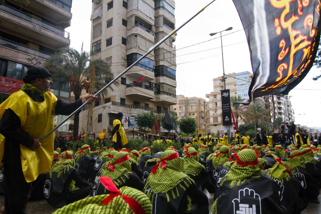 Thousands march to mark the day of Ashura in Beirut's Hezbollah stronghold of Dahiyeh
