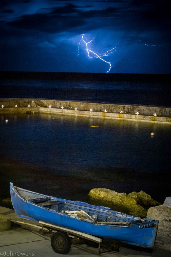 Storms are frequent in Lebanon, and lighting can often be seen far out at sea