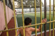 The football pitches of Shatila are a rare open space in the overcrowded camp, where rates of poverty are high