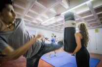 Martial arts practice at Khora Community centre, Athens. The centre offers a range of services to refugees